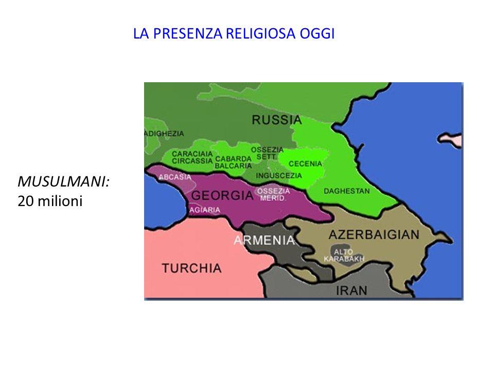 LA PRESENZA RELIGIOSA OGGI MUSULMANI: 20 milioni