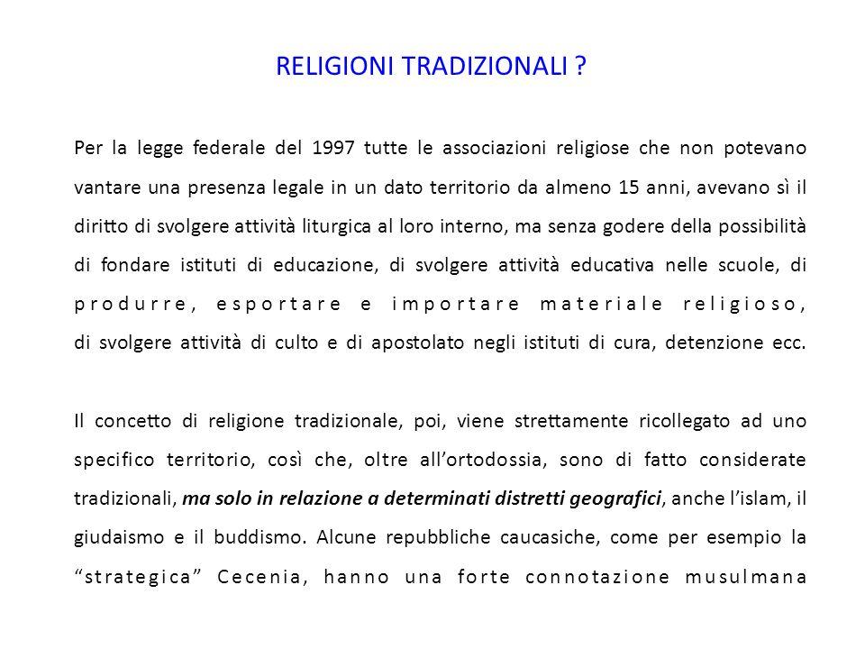 RELIGIONI TRADIZIONALI .