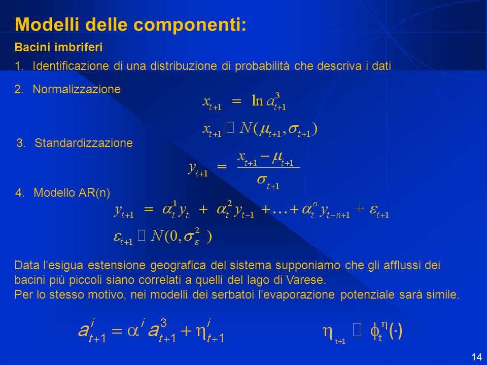 14 Modelli delle componenti: Data lesigua estensione geografica del sistema supponiamo che gli afflussi dei bacini più piccoli siano correlati a quelli del lago di Varese.