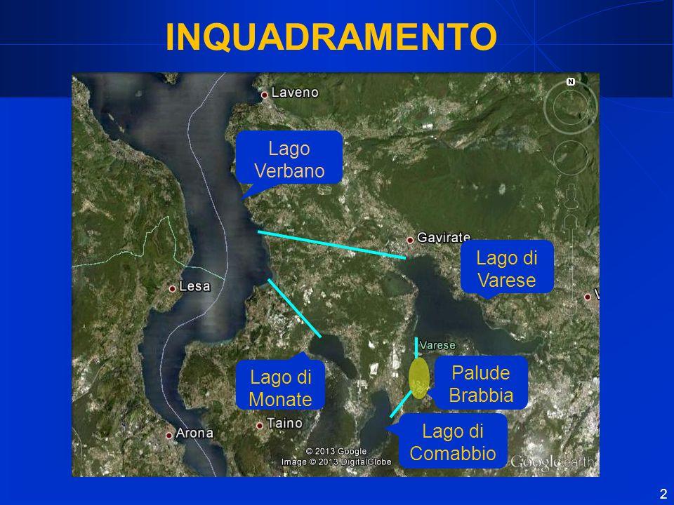 2 Palude Brabbia Lago di Comabbio Lago di Monate Lago di Varese Lago Verbano INQUADRAMENTO