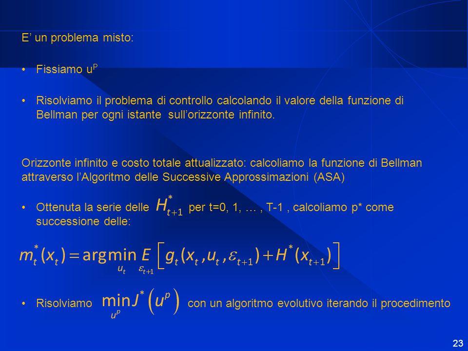 E un problema misto: Fissiamo u P Risolviamo il problema di controllo calcolando il valore della funzione di Bellman per ogni istante sullorizzonte infinito.