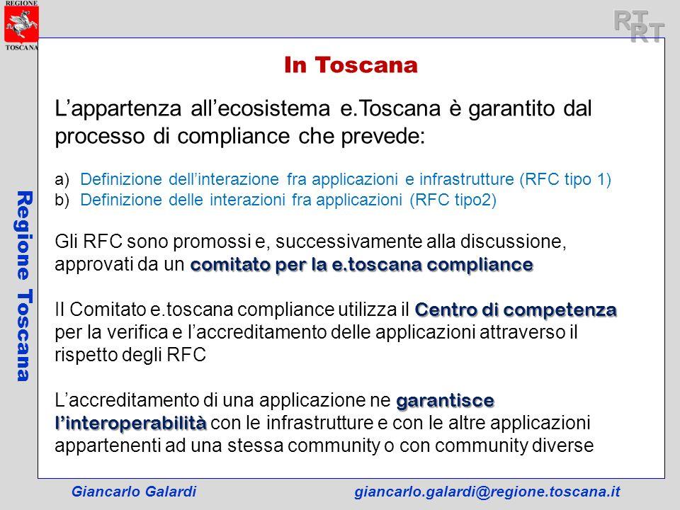 Giancarlo Galardigiancarlo.galardi@regione.toscana.it Regione Toscana In Toscana Lappartenza allecosistema e.Toscana è garantito dal processo di compl