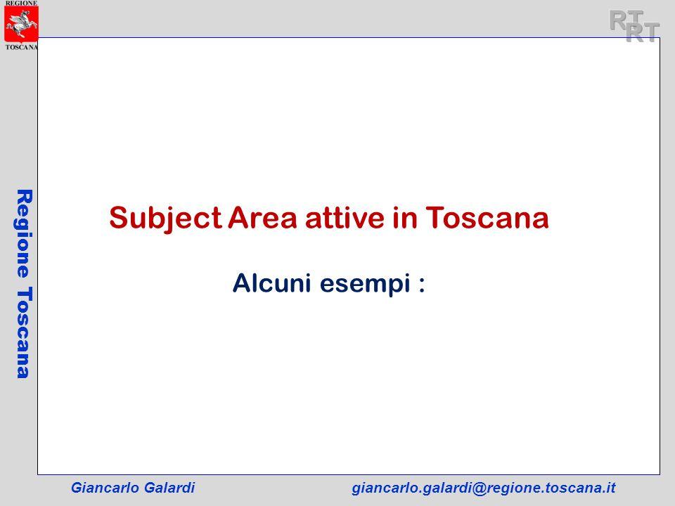 Giancarlo Galardigiancarlo.galardi@regione.toscana.it Regione Toscana Subject Area attive in Toscana Alcuni esempi :