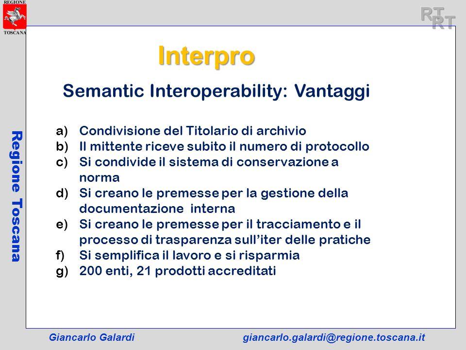 Giancarlo Galardigiancarlo.galardi@regione.toscana.it Regione Toscana Semantic Interoperability: Vantaggi a)Condivisione del Titolario di archivio b)I