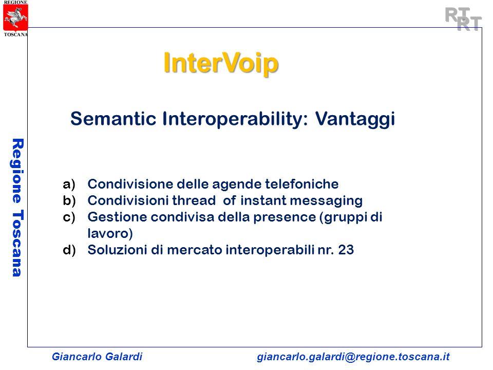 Giancarlo Galardigiancarlo.galardi@regione.toscana.it Regione Toscana Semantic Interoperability: Vantaggi a)Condivisione delle agende telefoniche b)Co