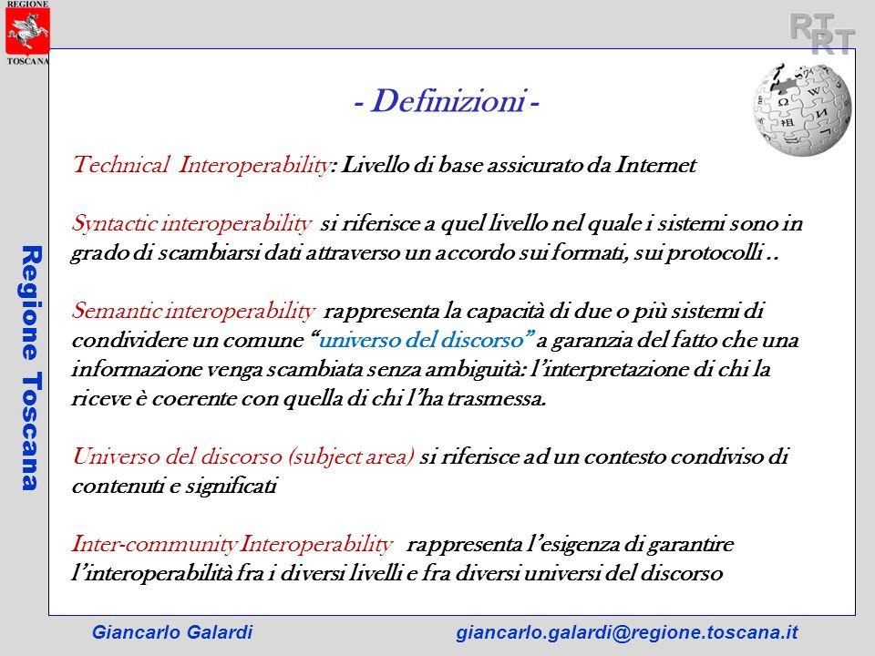 Giancarlo Galardigiancarlo.galardi@regione.toscana.it Regione Toscana - Definizioni - Technical Interoperability: Livello di base assicurato da Intern
