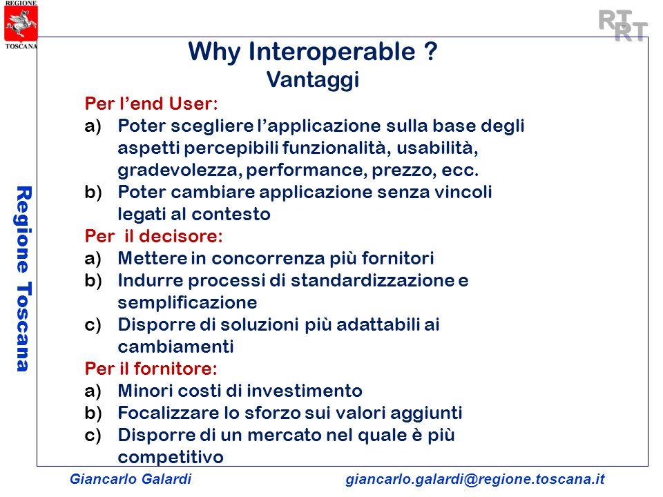 Giancarlo Galardigiancarlo.galardi@regione.toscana.it Regione Toscana Why Interoperable ? Vantaggi Per lend User: a)Poter scegliere lapplicazione sull
