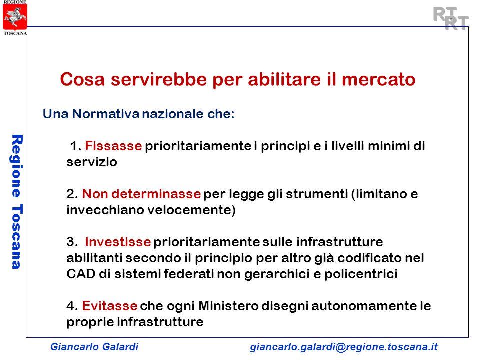 Giancarlo Galardigiancarlo.galardi@regione.toscana.it Regione Toscana Cosa servirebbe per abilitare il mercato Una Normativa nazionale che: 1. Fissass