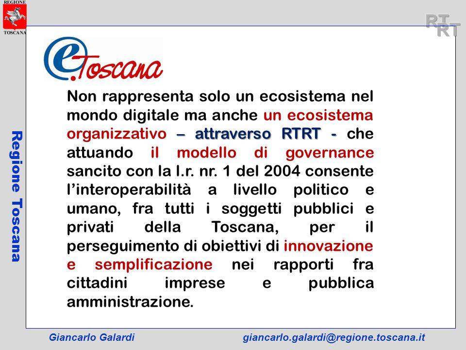 Giancarlo Galardigiancarlo.galardi@regione.toscana.it Regione Toscana – attraverso RTRT - Non rappresenta solo un ecosistema nel mondo digitale ma anc