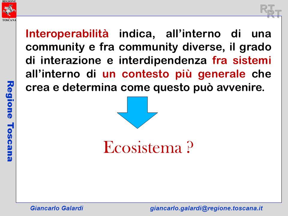 Giancarlo Galardigiancarlo.galardi@regione.toscana.it Regione Toscana Interoperabilità indica, allinterno di una community e fra community diverse, il