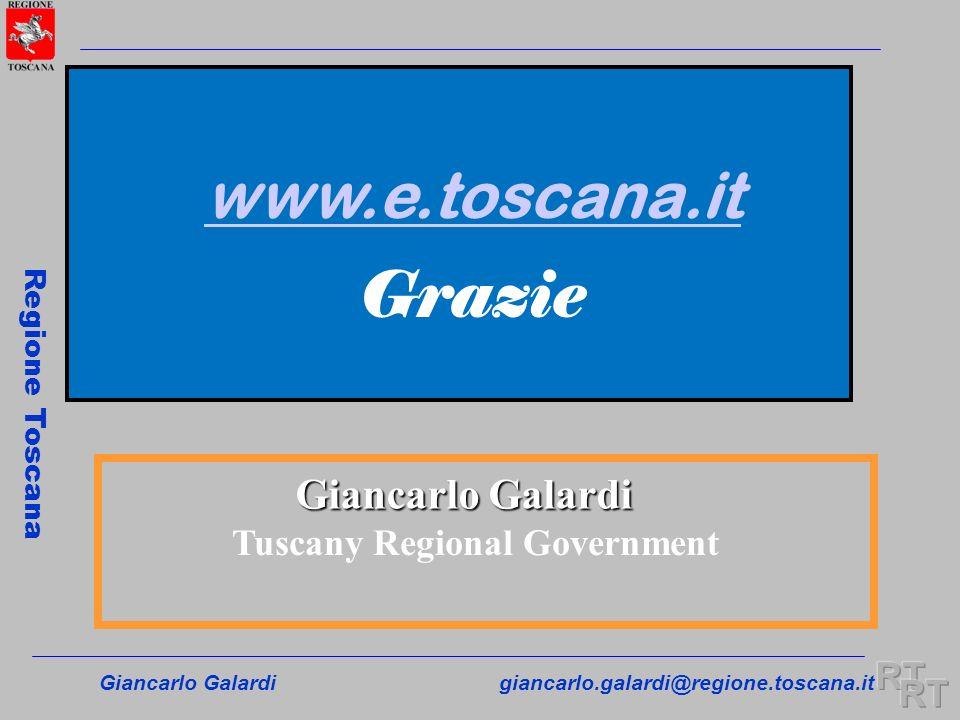 Giancarlo Galardigiancarlo.galardi@regione.toscana.it Regione Toscana Giancarlo Galardi Tuscany Regional Government www.e.toscana.it Grazie
