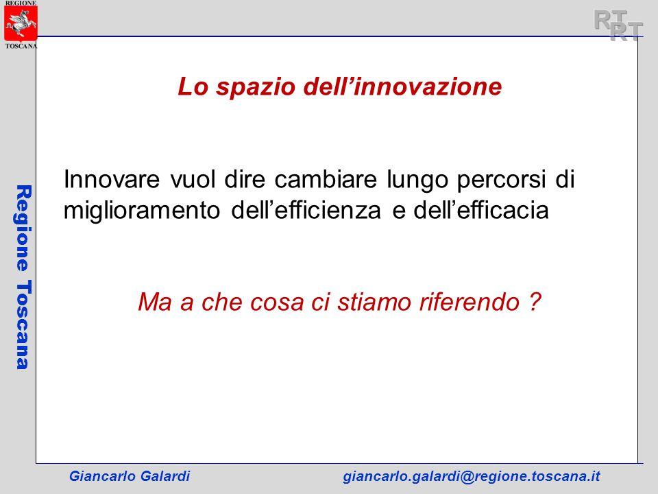 Giancarlo Galardigiancarlo.galardi@regione.toscana.it Regione Toscana Lo spazio dellinnovazione Innovare vuol dire cambiare lungo percorsi di migliora