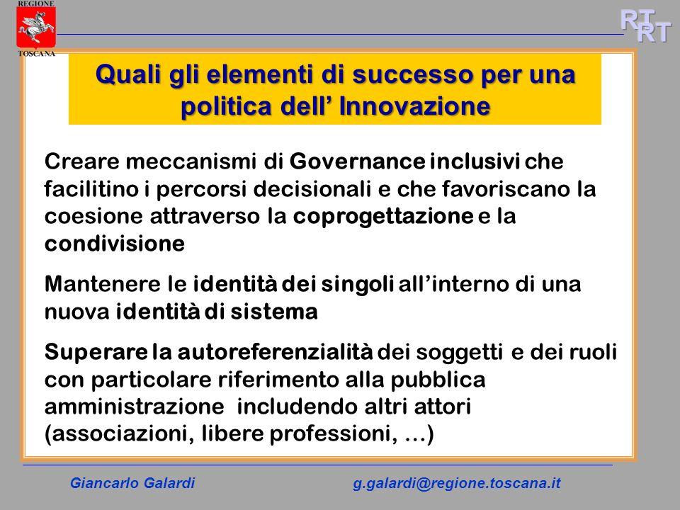 Giancarlo Galardig.galardi@regione.toscana.it Quali gli elementi di successo per una politica dell Innovazione Creare meccanismi di Governance inclusi