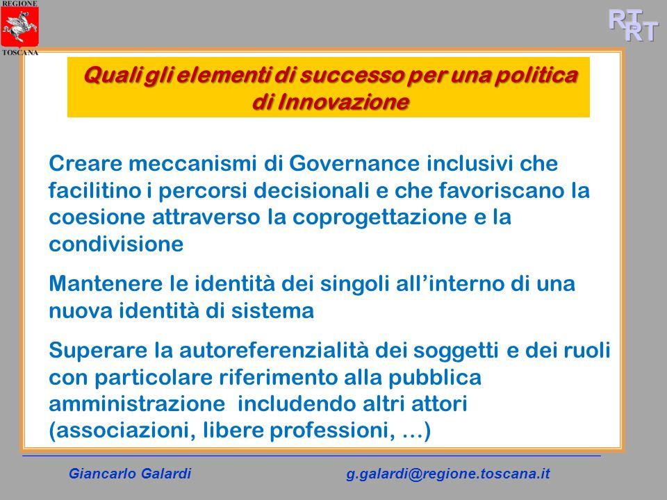 Giancarlo Galardig.galardi@regione.toscana.it Quali gli elementi di successo per una politica di Innovazione Creare meccanismi di Governance inclusivi