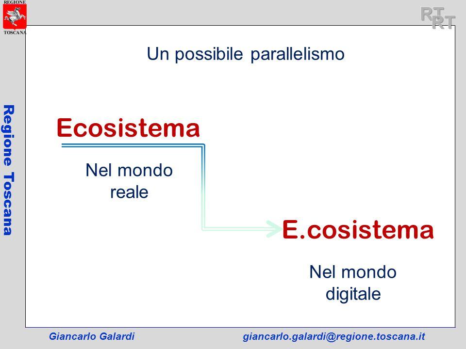 Giancarlo Galardigiancarlo.galardi@regione.toscana.it Regione Toscana Ecosistema E.cosistema Nel mondo reale Nel mondo digitale Un possibile paralleli