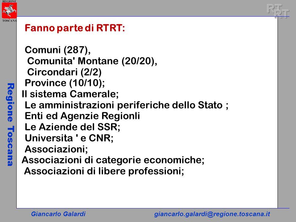 Giancarlo Galardigiancarlo.galardi@regione.toscana.it Regione Toscana Fanno parte di RTRT: Comuni (287), Comunita' Montane (20/20), Circondari (2/2) P