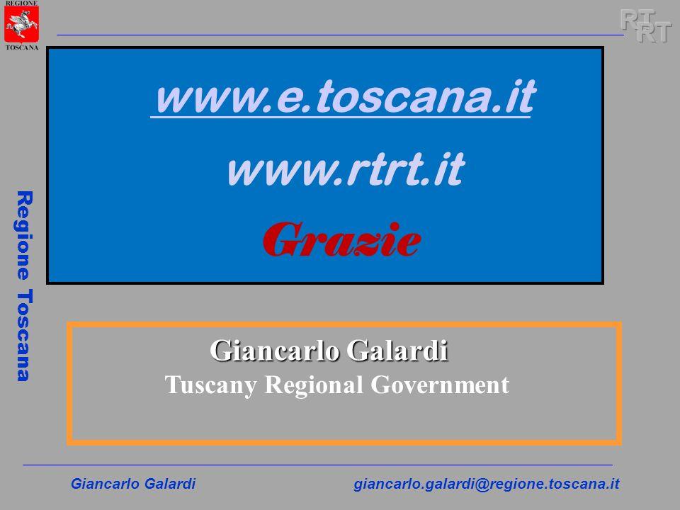Giancarlo Galardigiancarlo.galardi@regione.toscana.it Regione Toscana Giancarlo Galardi Tuscany Regional Government www.e.toscana.it www.rtrt.it Grazi