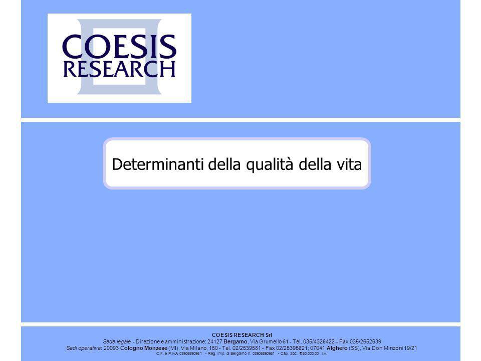 COESIS RESEARCH Srl Sede legale - Direzione e amministrazione: 24127 Bergamo, Via Grumello 61 - Tel. 035/4328422 - Fax 035/2652639 Sedi operative: 200