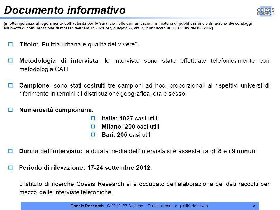 Coesis Research - C 2012187 Afidamp – Pulizia urbana e qualità del vivere 5 Documento informativo (in ottemperanza al regolamento dellautorità per le