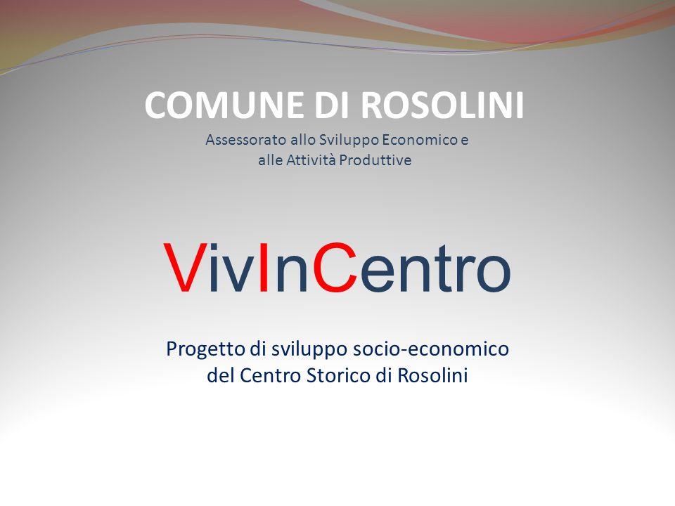 VivInCentro Progetto di sviluppo socio-economico del Centro Storico di Rosolini COMUNE DI ROSOLINI Assessorato allo Sviluppo Economico e alle Attività