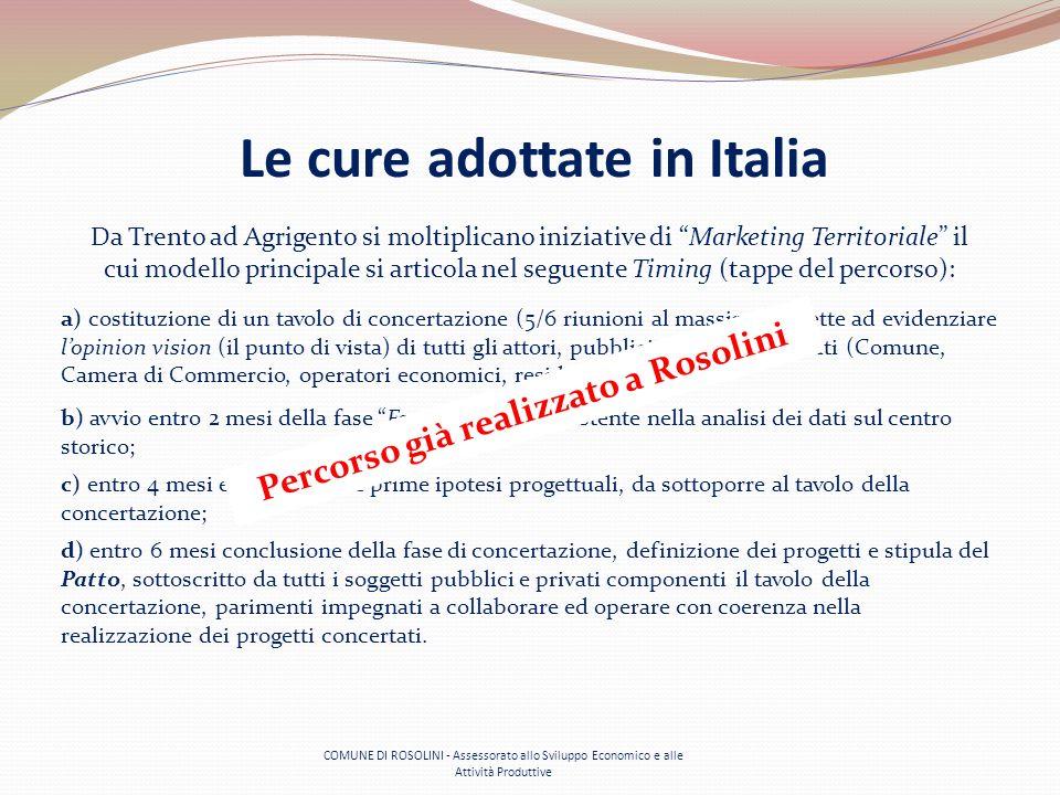 COMUNE DI ROSOLINI - Assessorato allo Sviluppo Economico e alle Attività Produttive Le cure adottate in Italia Da Trento ad Agrigento si moltiplicano