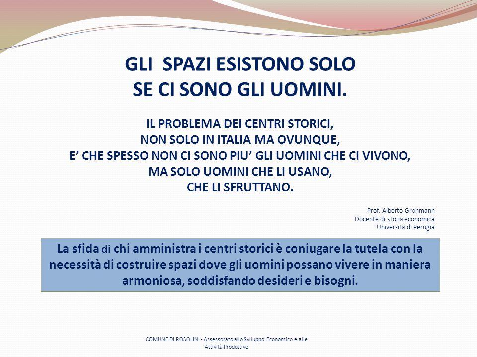 COMUNE DI ROSOLINI - Assessorato allo Sviluppo Economico e alle Attività Produttive GLI SPAZI ESISTONO SOLO SE CI SONO GLI UOMINI. IL PROBLEMA DEI CEN