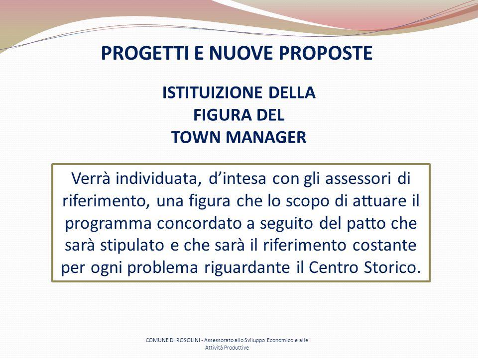 COMUNE DI ROSOLINI - Assessorato allo Sviluppo Economico e alle Attività Produttive PROGETTI E NUOVE PROPOSTE ISTITUIZIONE DELLA FIGURA DEL TOWN MANAG