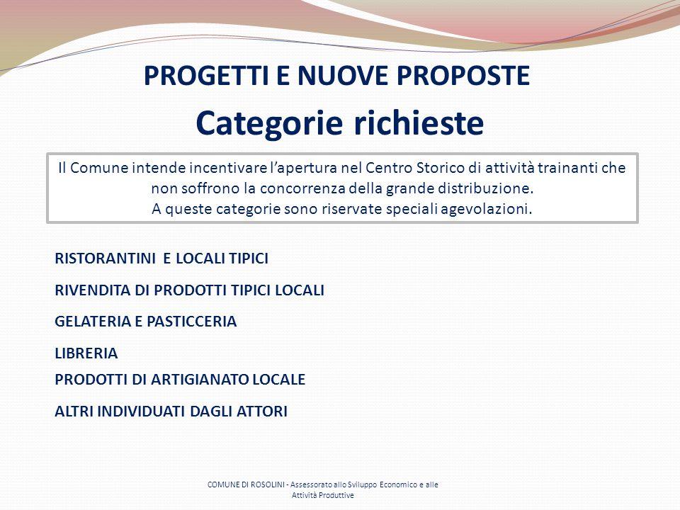 COMUNE DI ROSOLINI - Assessorato allo Sviluppo Economico e alle Attività Produttive Categorie richieste PROGETTI E NUOVE PROPOSTE Il Comune intende in