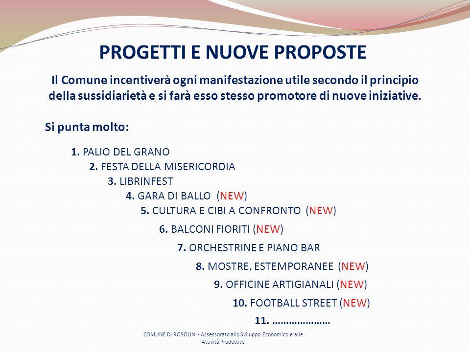 COMUNE DI ROSOLINI - Assessorato allo Sviluppo Economico e alle Attività Produttive PROGETTI E NUOVE PROPOSTE Il Comune incentiverà ogni manifestazion