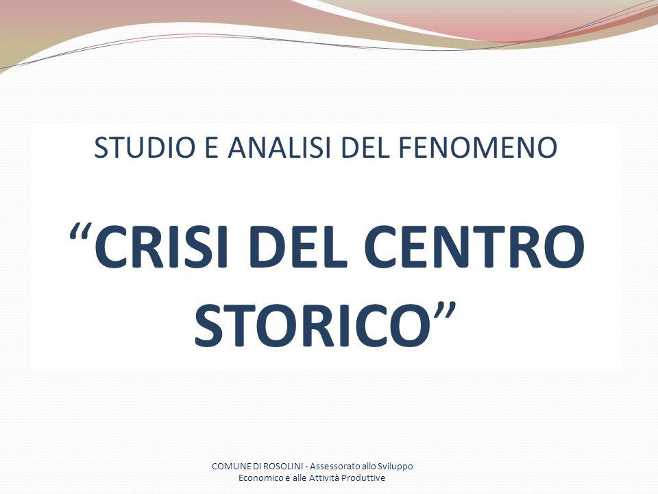 COMUNE DI ROSOLINI - Assessorato allo Sviluppo Economico e alle Attività Produttive STUDIO E ANALISI DEL FENOMENO CRISI DEL CENTRO STORICO
