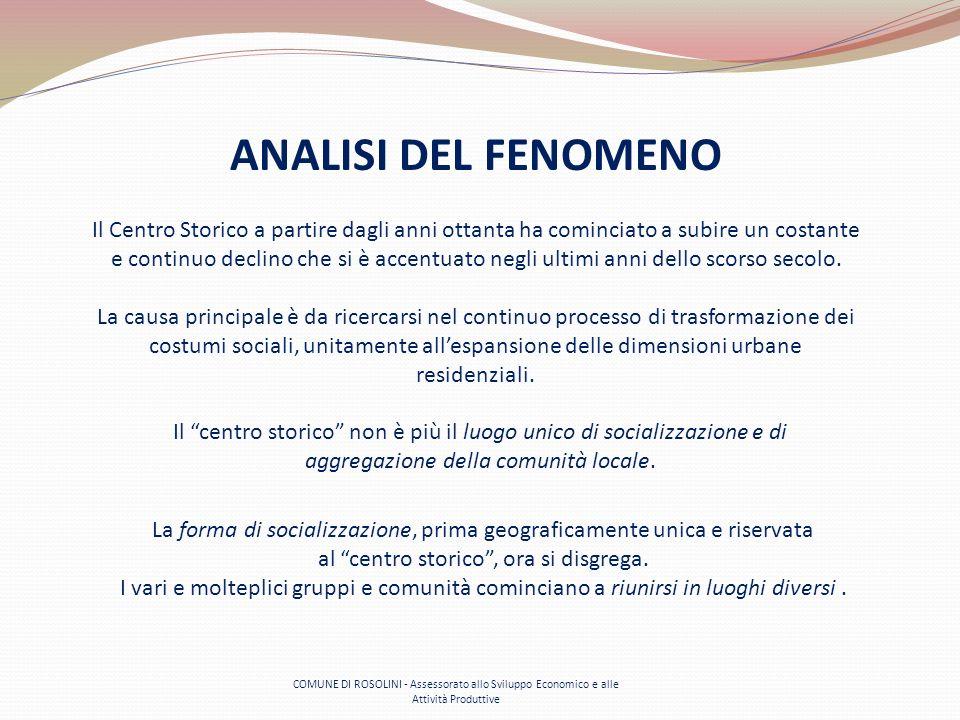 COMUNE DI ROSOLINI - Assessorato allo Sviluppo Economico e alle Attività Produttive ANALISI DEL FENOMENO La forma di socializzazione, prima geografica