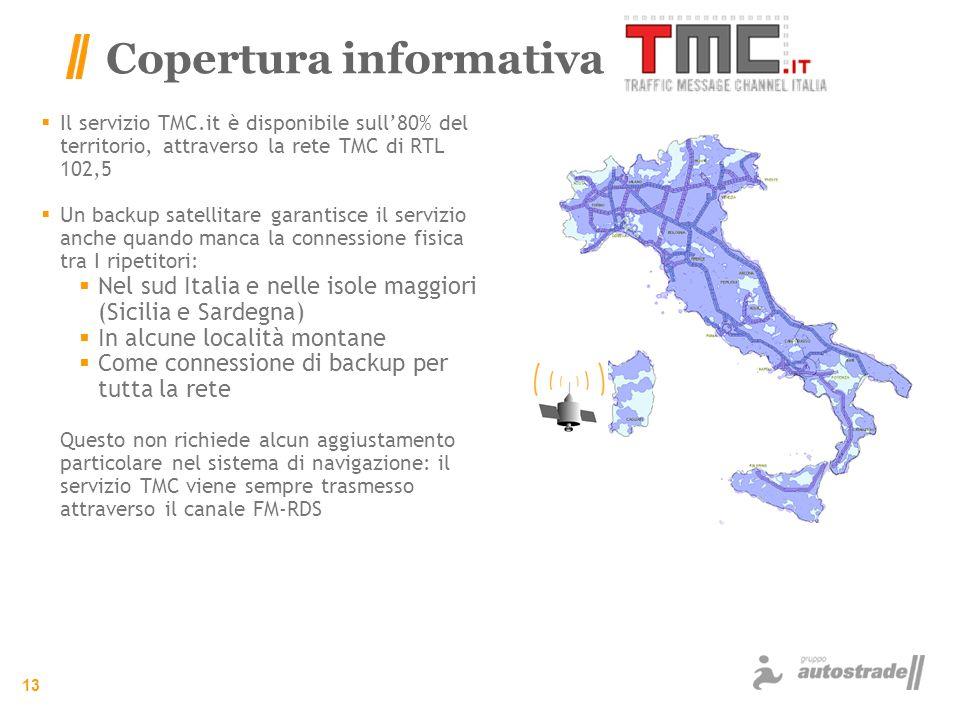 13 Copertura informativa Il servizio TMC.it è disponibile sull80% del territorio, attraverso la rete TMC di RTL 102,5 Un backup satellitare garantisce