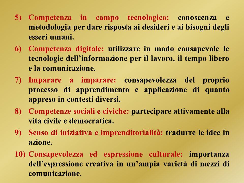 5)Competenza in campo tecnologico: conoscenza e metodologia per dare risposta ai desideri e ai bisogni degli esseri umani.