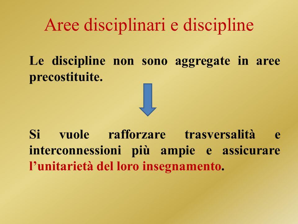 Aree disciplinari e discipline Le discipline non sono aggregate in aree precostituite.