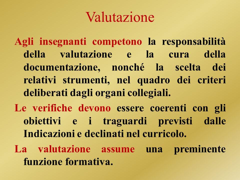 Valutazione Agli insegnanti competono la responsabilità della valutazione e la cura della documentazione, nonché la scelta dei relativi strumenti, nel quadro dei criteri deliberati dagli organi collegiali.