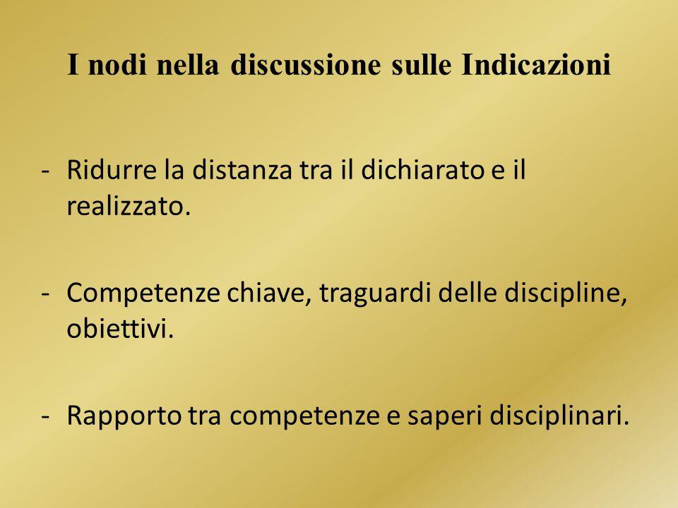 I nodi nella discussione sulle Indicazioni -Ridurre la distanza tra il dichiarato e il realizzato.