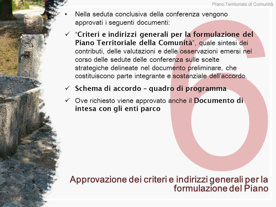 6 Nella seduta conclusiva della conferenza vengono approvati i seguenti documenti: Criteri e indirizzi generali per la formulazione del Piano Territor