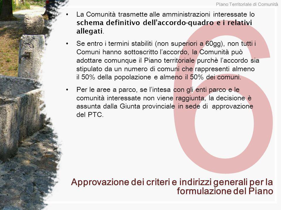 6 La Comunità trasmette alle amministrazioni interessate lo schema definitivo dellaccordo-quadro e i relativi allegati. Se entro i termini stabiliti (