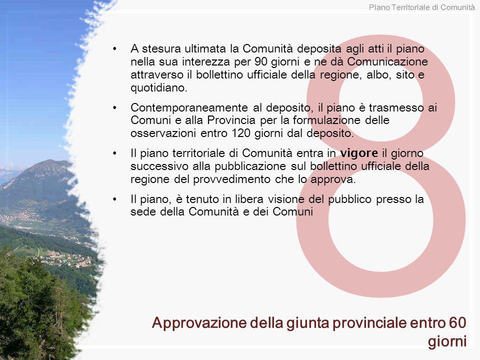 8 A stesura ultimata la Comunità deposita agli atti il piano nella sua interezza per 90 giorni e ne dà Comunicazione attraverso il bollettino ufficial