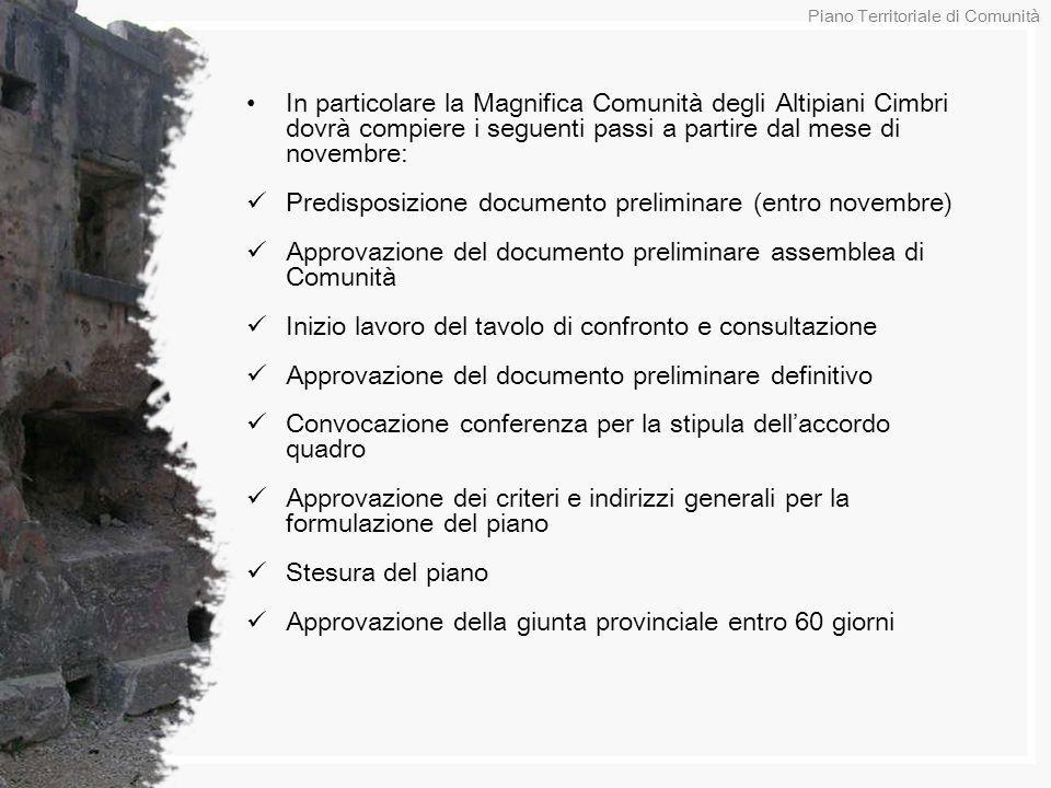 In particolare la Magnifica Comunità degli Altipiani Cimbri dovrà compiere i seguenti passi a partire dal mese di novembre: Predisposizione documento