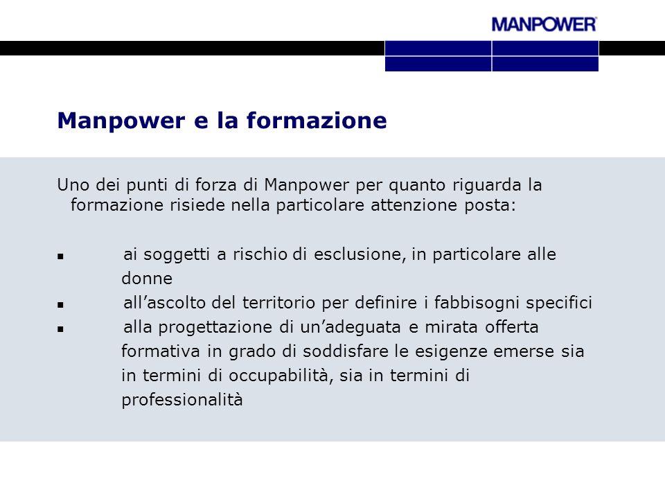 Manpower e la formazione Uno dei punti di forza di Manpower per quanto riguarda la formazione risiede nella particolare attenzione posta: ai soggetti