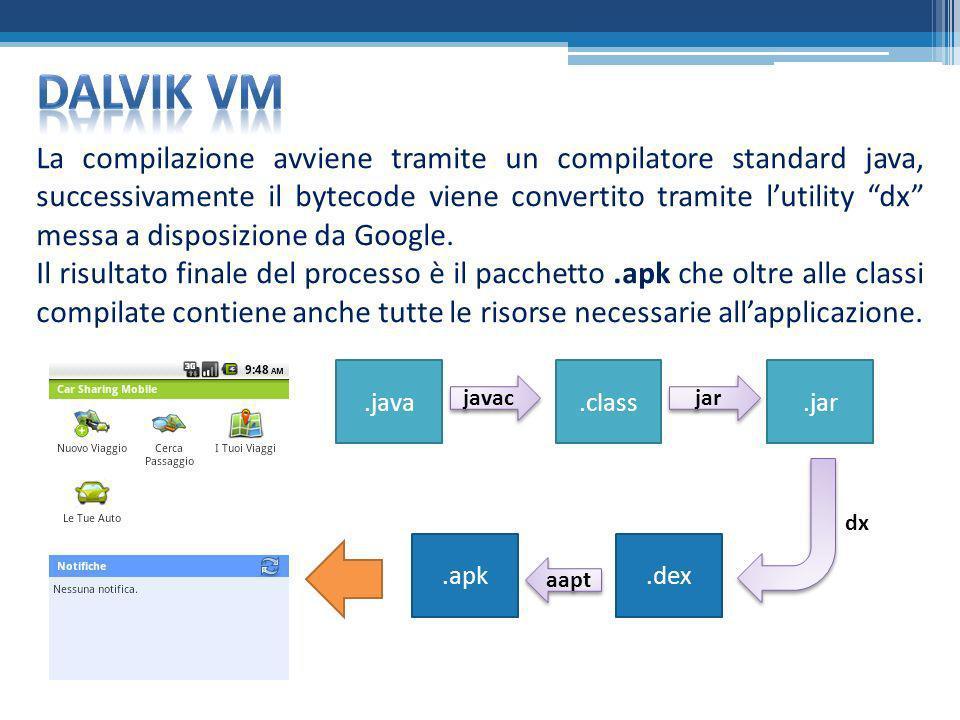 La compilazione avviene tramite un compilatore standard java, successivamente il bytecode viene convertito tramite lutility dx messa a disposizione da