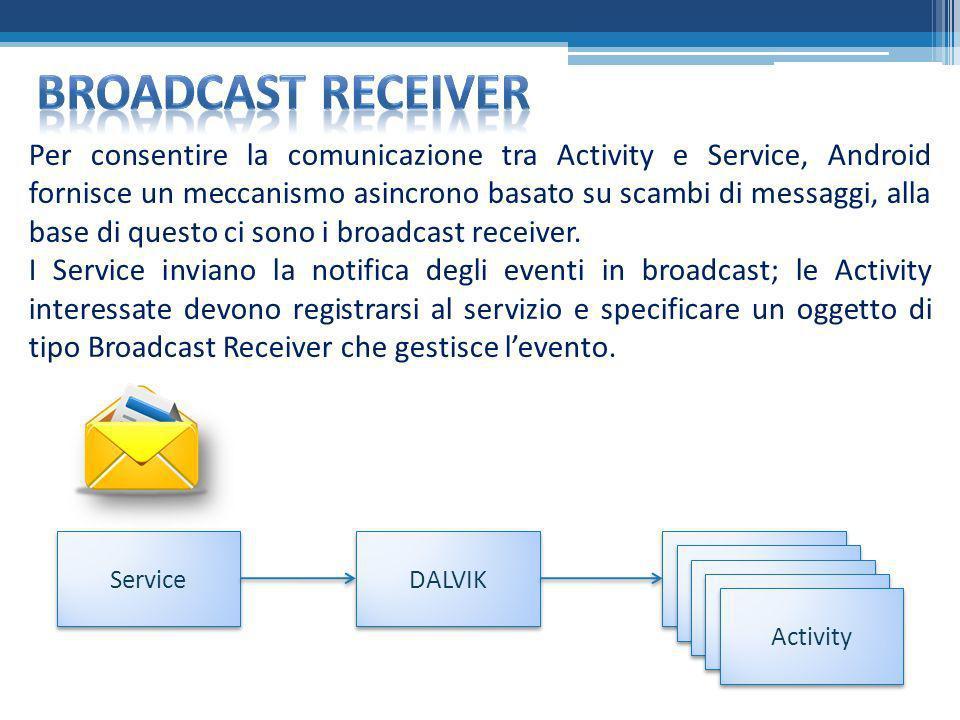 Per consentire la comunicazione tra Activity e Service, Android fornisce un meccanismo asincrono basato su scambi di messaggi, alla base di questo ci