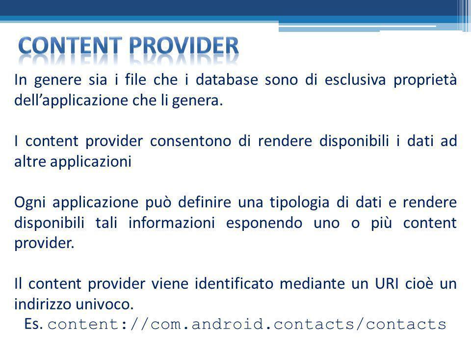 In genere sia i file che i database sono di esclusiva proprietà dellapplicazione che li genera. I content provider consentono di rendere disponibili i