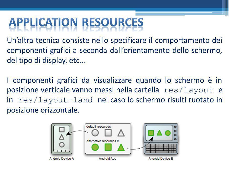 Unaltra tecnica consiste nello specificare il comportamento dei componenti grafici a seconda dallorientamento dello schermo, del tipo di display, etc.
