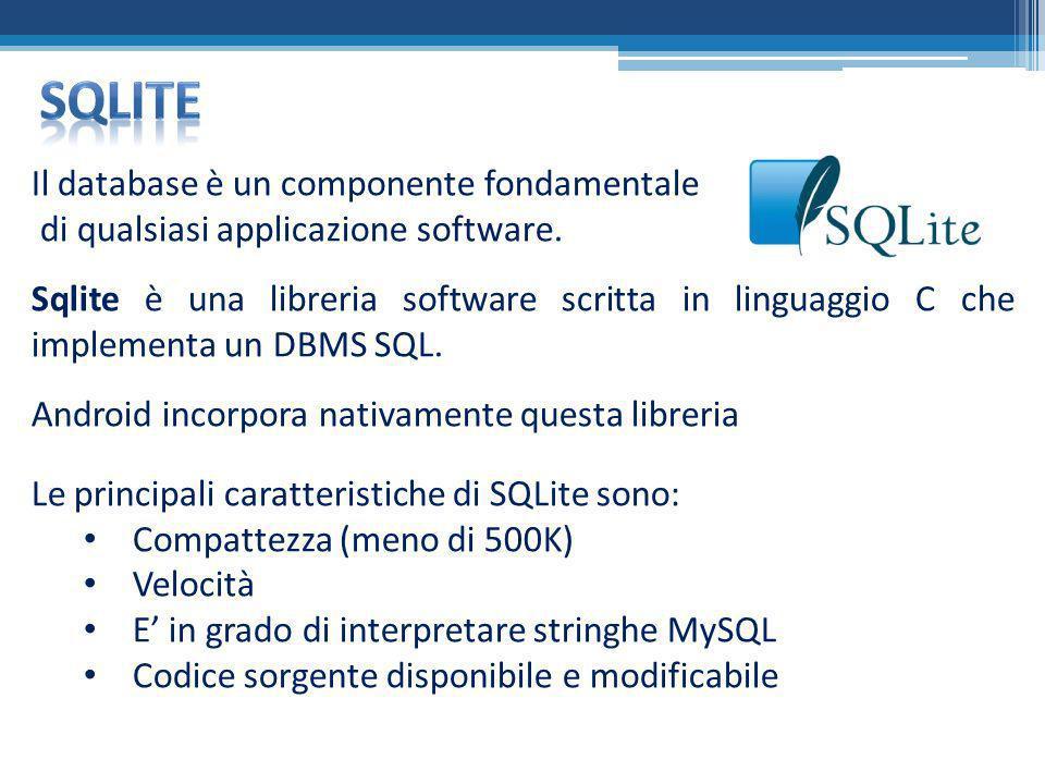 Il database è un componente fondamentale di qualsiasi applicazione software. Sqlite è una libreria software scritta in linguaggio C che implementa un