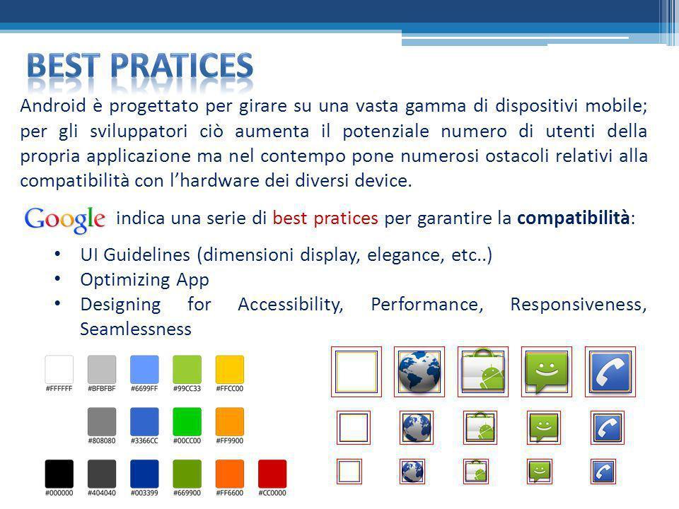 indica una serie di best pratices per garantire la compatibilità: UI Guidelines (dimensioni display, elegance, etc..) Optimizing App Designing for Acc