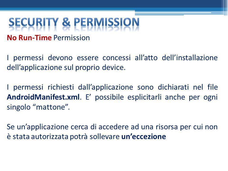 No Run-Time Permission I permessi devono essere concessi allatto dellinstallazione dellapplicazione sul proprio device. I permessi richiesti dallappli