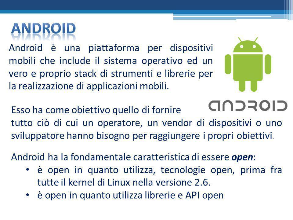 Android è una piattaforma per dispositivi mobili che include il sistema operativo ed un vero e proprio stack di strumenti e librerie per la realizzazi