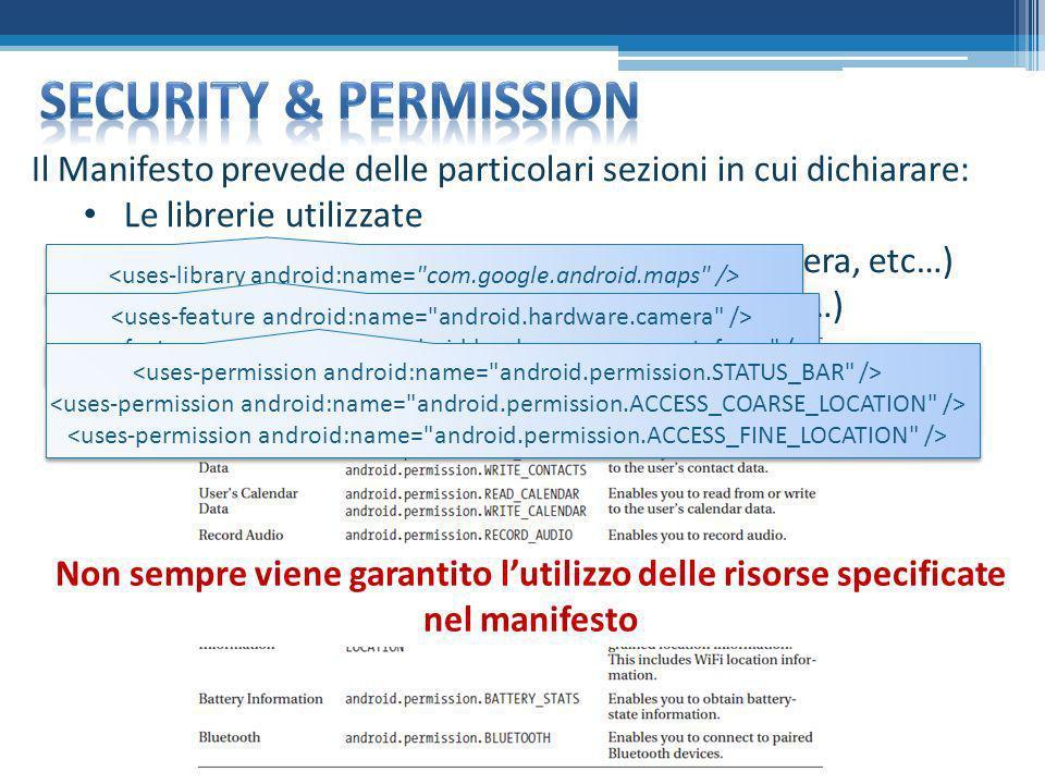 Il Manifesto prevede delle particolari sezioni in cui dichiarare: Le librerie utilizzate Le features utilizzate (es. hardware: fotocamera, etc…) I per